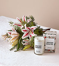 Candy Cane Lily Bouquet and Homesick Candle Bundle