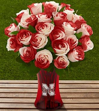 The FTD® University of Nebraska® Huskers® Rose Bouquet - 24 Stems - VASE INCLUDED