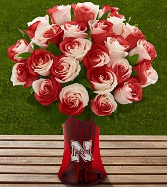 The FTD® University of Nebraska® Huskers® Rose Bouquet - 24 Stems - VASE INCLUDED