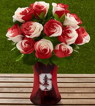 The FTD® Stanford® University Cardinal™ Rose Bouquet - 12 Stems - VASE INCLUDED