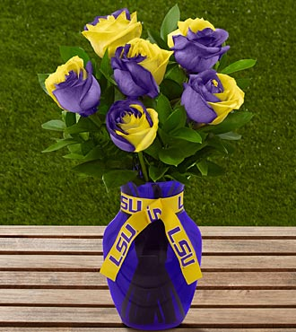 The FTD® Louisiana State University® Tigers™ Rose Bouquet - 6 Stems - VASE INCLUDED