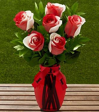The FTD® University of Nebraska® Huskers® Rose Bouquet - 6 Stems - VASE INCLUDED