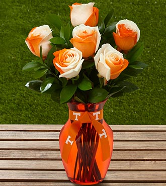 The FTD® University of Tennessee® Vols® Rose Bouquet - 6 Stems - VASE INCLUDED