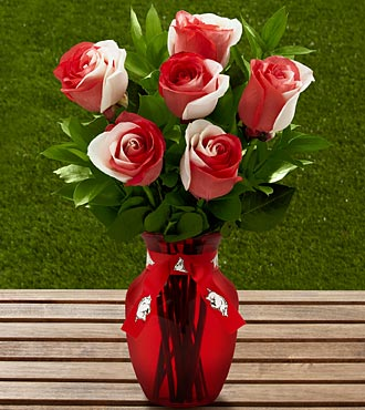 The FTD® University of Arkansas® Razorbacks® Rose Bouquet - 6 Stems - VASE INCLUDED