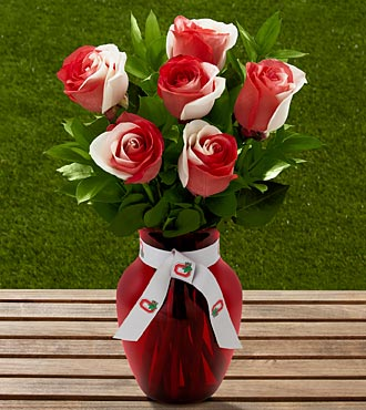 The FTD® Ohio State University® Buckeyes® Rose Bouquet - 6 Stems - VASE INCLUDED