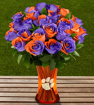 The FTD® Clemson University™ Tigers™ Rose Bouquet - 24 Stems - VASE INCLUDED