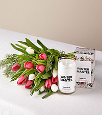 New Traditions Tulip Bouquet and Homesick Candle