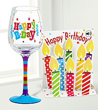 Birthday Cheer Wine Glass & Pop Up Card Gift Set