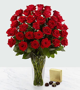 The Long Stem Red Rose Bouquet by FTD® - 36 Stems - VASE INCLUDED