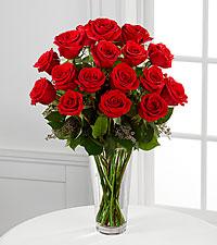 Bouquet de roses rouges à longues tiges - VASE INCLUS