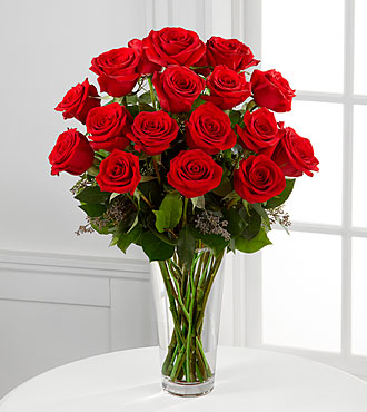 Le bouquet de roses rouges à longues tiges de FTD® - VASE INCLUS