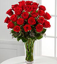 Le bouquet de roses rouges à longues tiges - VASE INCLUS