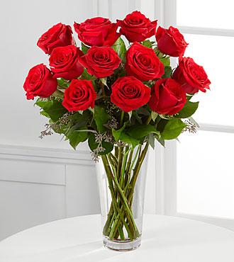 Le bouquet de roses rouges à longues tiges de FTD® - VASE INCLUS