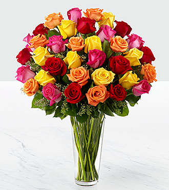 Le bouquet de roses Bright Spark™ - VASE INCLUS