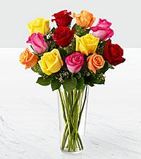 Le bouquet de roses Bright Spark™ - VASE INCLUS