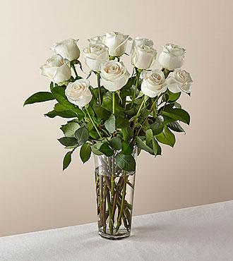 Bouquet de roses blanches à longues tiges