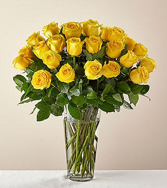 Bouquet de roses jaunes à longues tiges