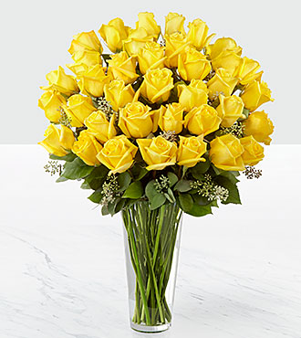 The Yellow Rose Bouquet - 36 Stems - VASE INCLUDED