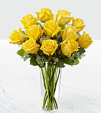 Le bouquet de roses jaunes - VASE INCLUS