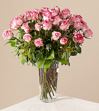 The Long Stem Pink Rose Bouquet by FTD® - VASE INCLUDED