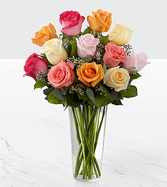 The Graceful Grandeur™ Rose Bouquet - VASE INCLUDED