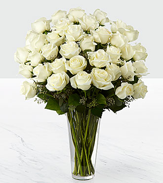 Le bouquet de roses blanches - 36 tiges - VASE INCLUS