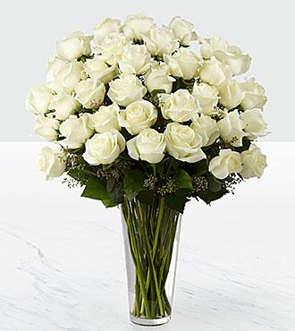 Le bouquet de roses blanches de FTD® - 36tiges - VASE INCLUS