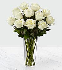 Le bouquet de roses blanches - VASE INCLUS