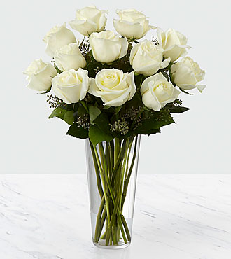 Le bouquet de roses blanches - VASE INCLUS