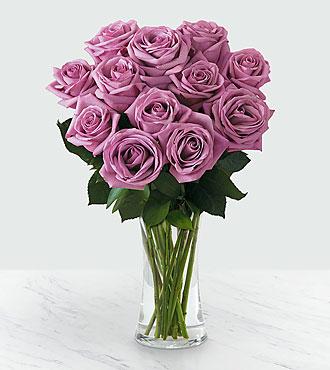 12 Lavender Roses - Vase Included