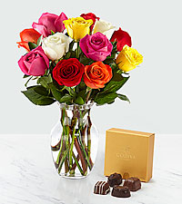 1 Dozen Mixed Roses with Godiva® Chocolates