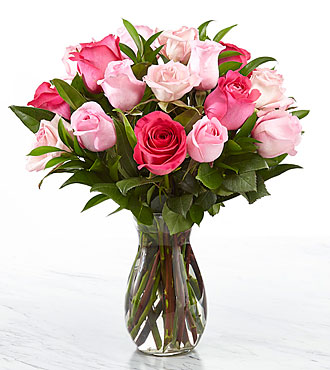 18 Pink Roses - VASE INCLUDED
