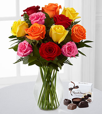 Beautiful Love Mixed Rose Bouquet - 12 Stems with Vase & FREE Chocolates