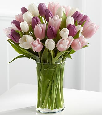 Painted Skies Tulip Bouquet - 30 Stems - VASE INCLUDED