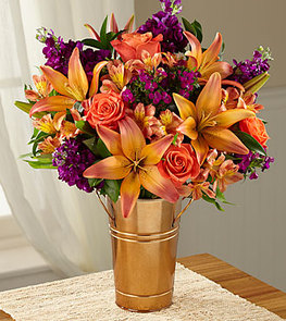 Finding Fall Harvest Bouquet - COPPER BUCKET VASE INCLUDED