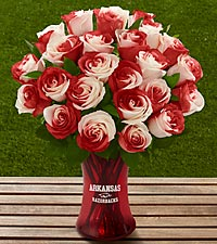 The FTD® University of Arkansas® Razorbacks® Rose Bouquet - VASE INCLUDED