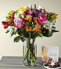 Smiles and Sunshine Bouquet with Glass Vase and Box of Chocolates