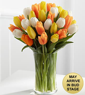 The Heat is On Summer Tulip Bouquet - 30 Stems -Vase Included