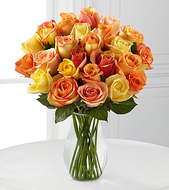 Sun-Drenched Summer Rose Bouquet - 24 Stems - VASE INCLUDED