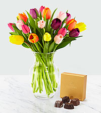 Rush of Color Assorted Tulip Bouquet with Chocolate -20 Stems- VASE INCLUDED