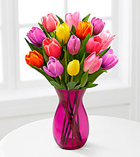 Life in Color Tulip Bouquet - 15 Stems - PINK VASE INCLUDED