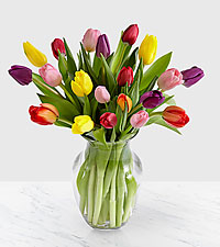 Rush of Color Assorted Tulip Bouquet - 15 Stems - VASE INCLUDED