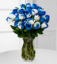 Rhapsody in Blue Rainbow Rose Bouquet - VASE INCLUDED