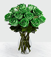 Emerald Allure Rainbow Roses - VASE INCLUDED