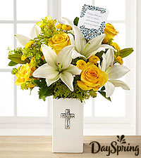 DaySpring® Prayers for Peace Sympathy Bouquet -Yellow & White