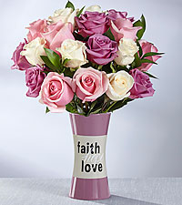 The FTD® Faith, Hope, Love Rose Bouquet  - VASE INCLUDED
