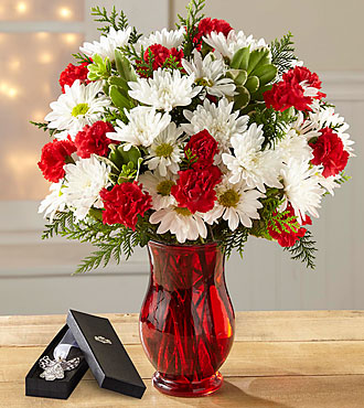 The FTD® Christmas Miracle Bouquet - VASE & ANGEL BOOKMARK INCLUDED