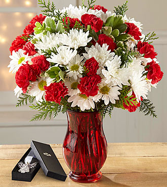 The FTD® Christmas Miracle Bouquet- VASE & ANGEL BOOKMARK INCLUDED