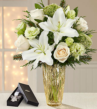 The FTD® O Holy Night Christmas Bouquet  - VASE & ANGEL BOOKMARK INCLUDED