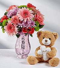 Easter Joys Bouquet with Plush Bear - VASE INCLUDED